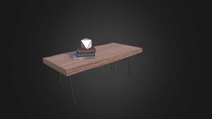 Rough Table with Books 3D Model