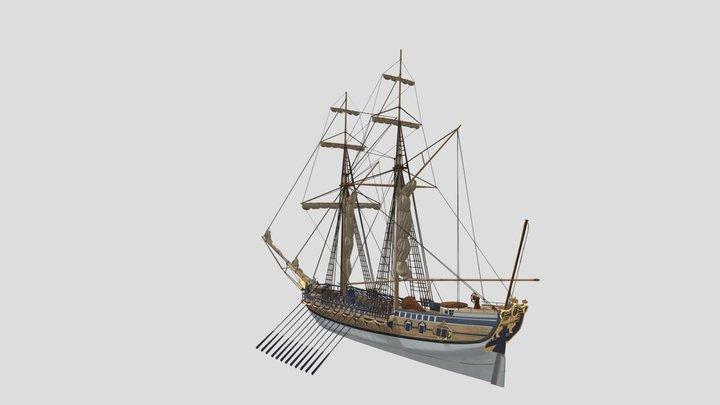 Swedish royal schooner yacht Amphion 3D Model