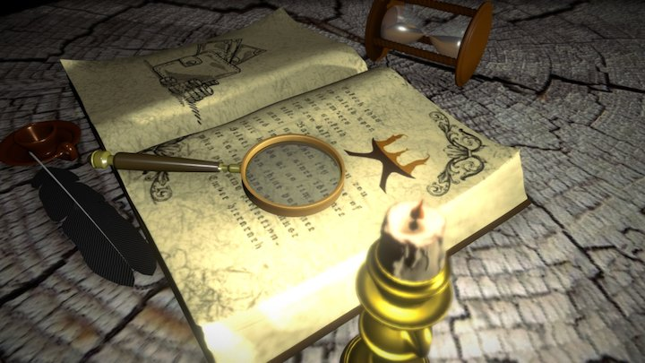 Book by the candle light 3D Model