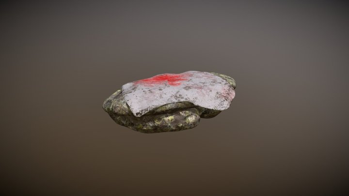 Stone altar with cloth + blood 3D Model