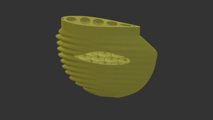 Titanium longboard surf fin 3D Model