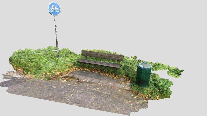 Bench near bicycle lane 3D Model