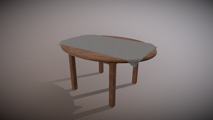 Table with cloth 3D Model