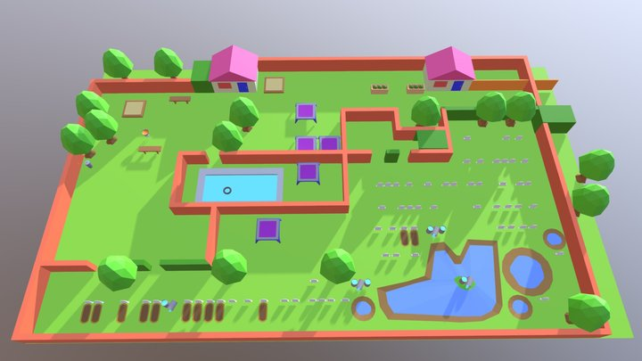 zombies ate my neighbors level one 3D Model