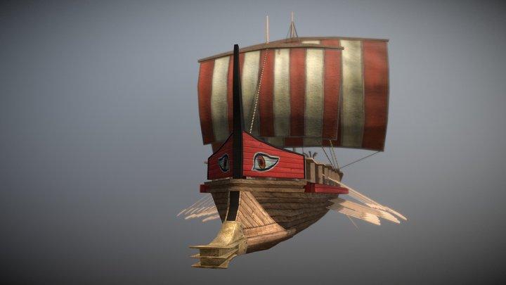 Trireme ship 3D Model