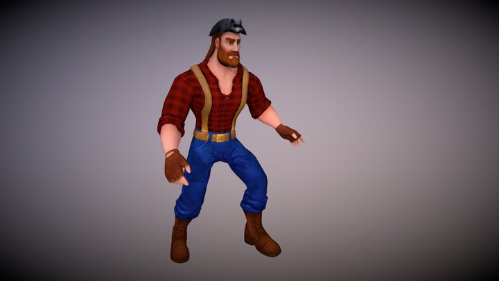 Lowpoly_Character_Woodcutter_Idle_after_running 3D Model