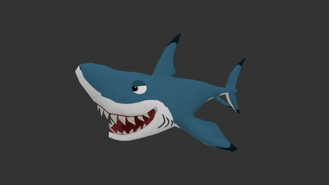 Cartoon Great White Shark 3D Model