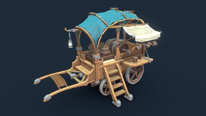 Stylized Wagon 3D Model