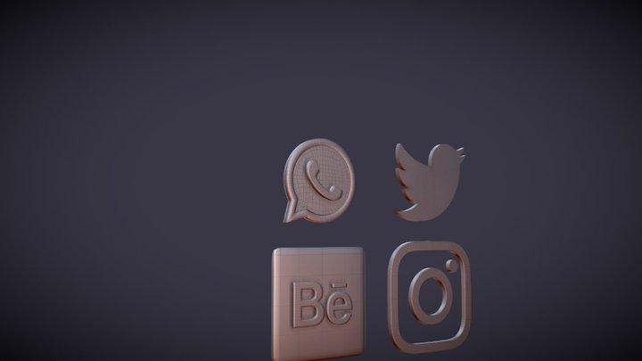 24 3D Social Media Icons 3D Model