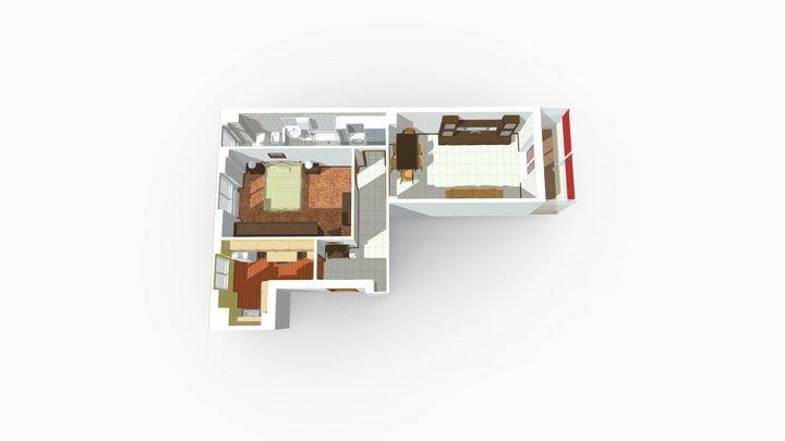 Bilocale Via Polesine Milano 3D Model