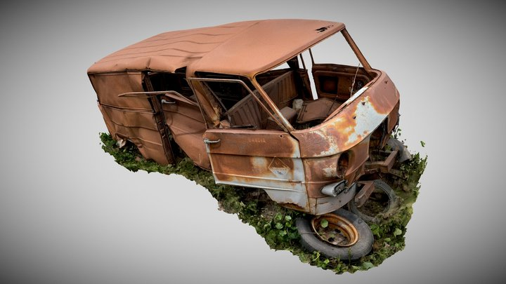 Rusty Mercedes Benz Van (Raw Scan) 3D Model