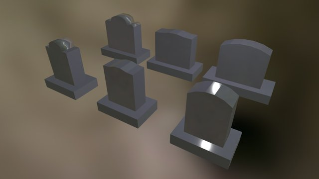 Various Headstones   Blender 3D Model