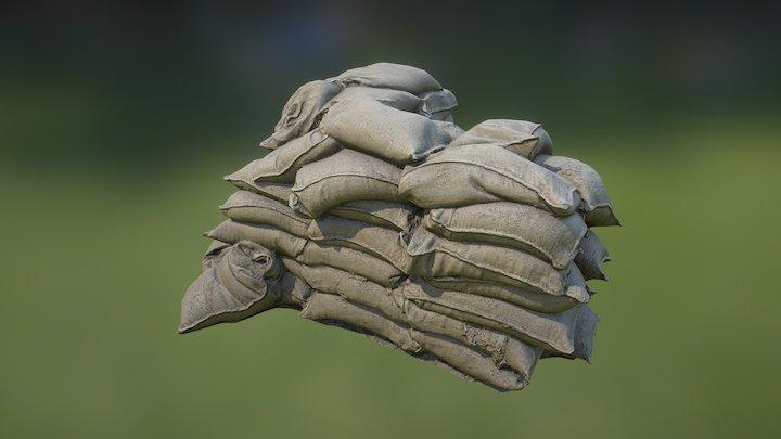 Sandbag Wall Corner90 02 3D Model