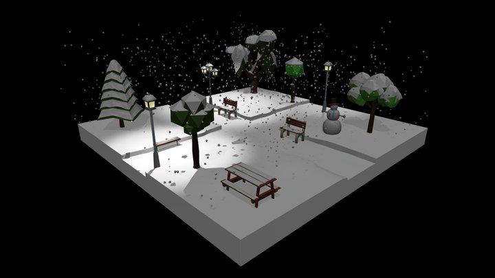 Low Poly Cartoon Winter Park at Night 3D Model
