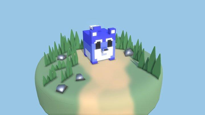 Pixel Dog 3D Model
