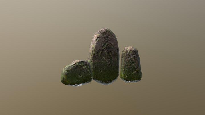 Mossy Rocks with Runes 3D Model