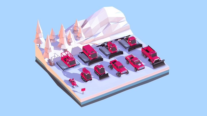 Cartoon Low Poly Winter Vehicles Pack 3D Model