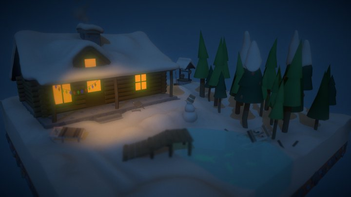 Winter Country House 3D Model
