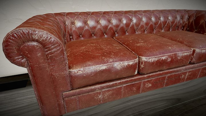 Old leather sofa model 3D Model