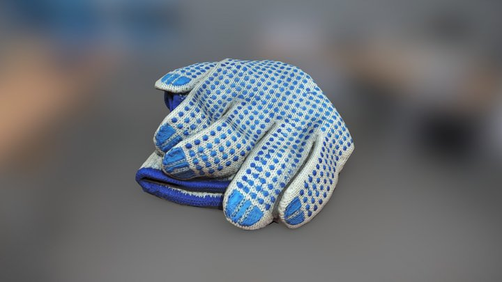Crumpled Workers Gloves 3D Model