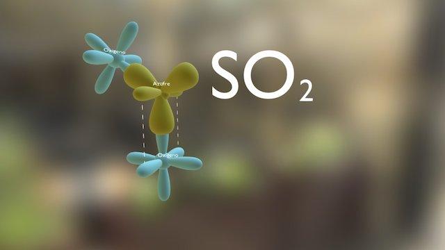 Sulfur dioxide (SO2) with hybridisation 3D Model