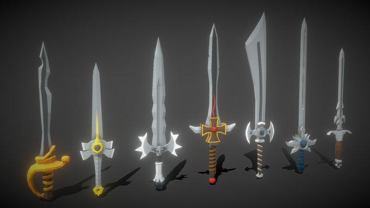 Free Stylized Low Poly Swords 3D Model
