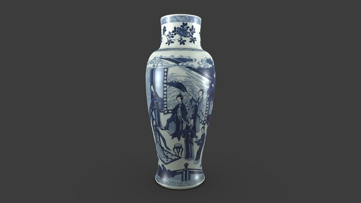 Baluster vase, from a five-piece garniture 3D Model