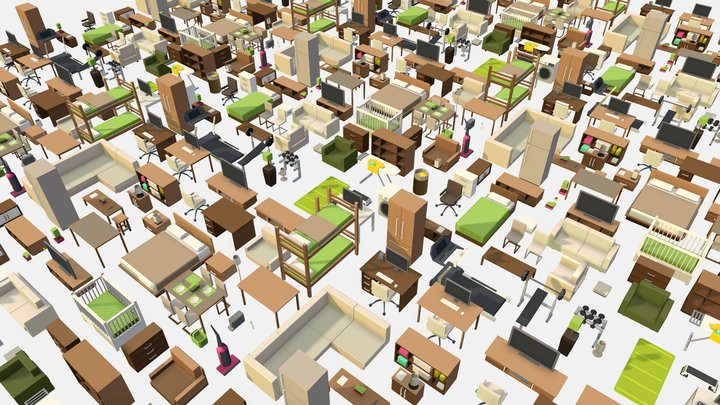 Isometric Home Office Furniture Fitness Pack 3D Model
