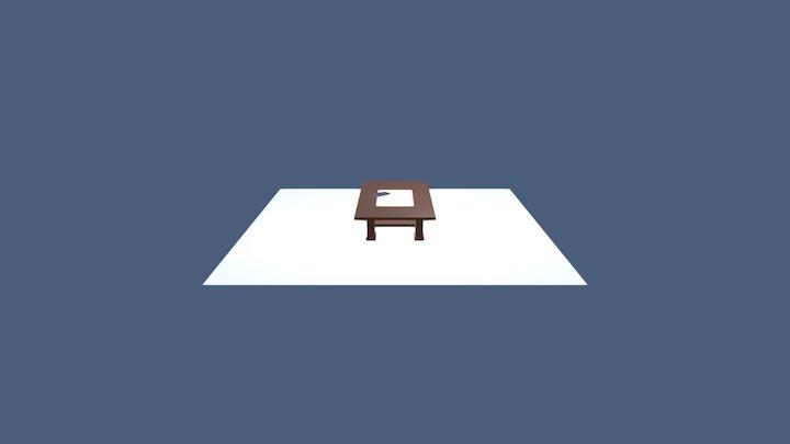 Meja dan Handphone 3D Model