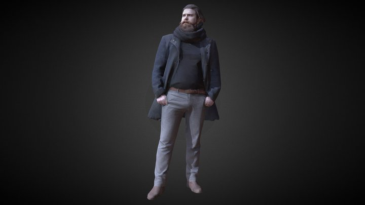 3D Scan Man Winter 002 3D Model