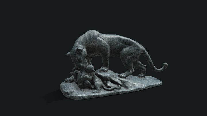 Panther Statue 3D Model