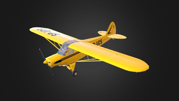 Piper PA-18 (Low Poly) 3D Model