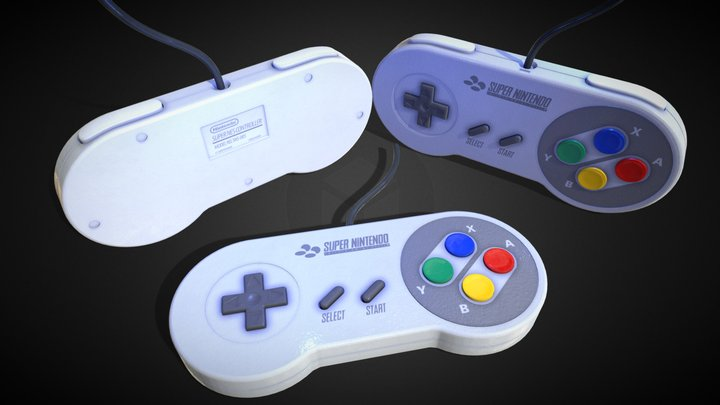 Super Nintendo Entertainment System Controller 3D Model