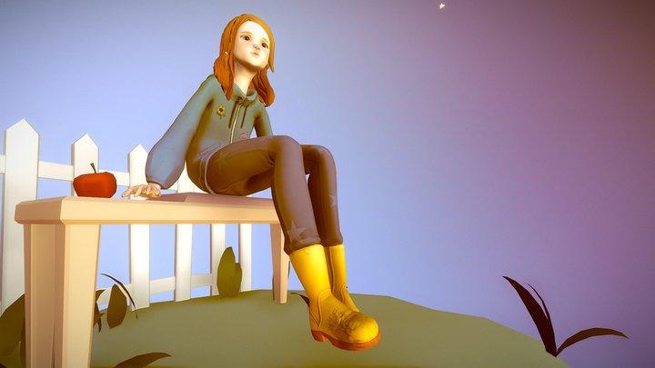 Girl in the garden at night 3D Model