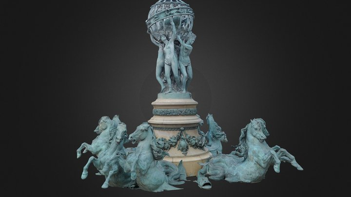 Four-parts-of-the-world Fountain 3D Model