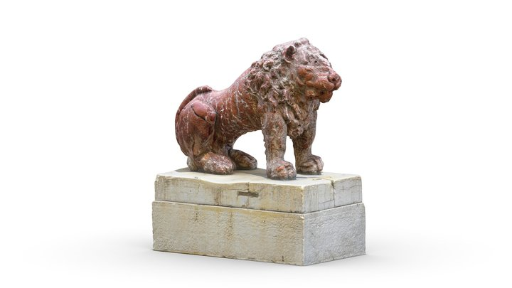 Red marble lions by Giovanni Bonazza, 1722 3D Model