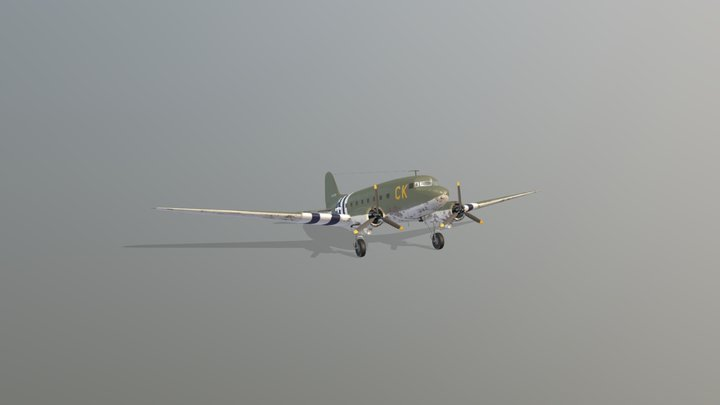 US Air Force DC3 - WWII 3D Model