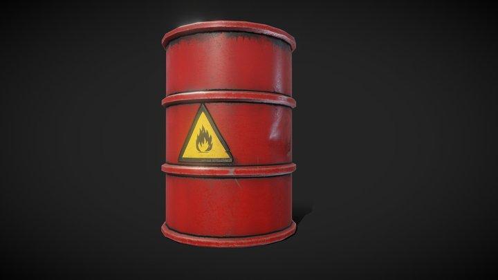 Metal Barrel red 3 3D Model