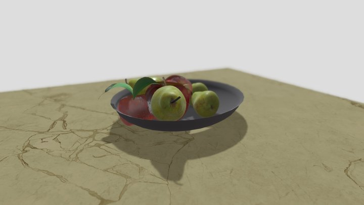 Pear & Apple Fruit Bowl 3D Model