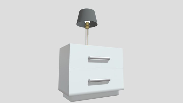 Bed Side Table with lamp 3D Model