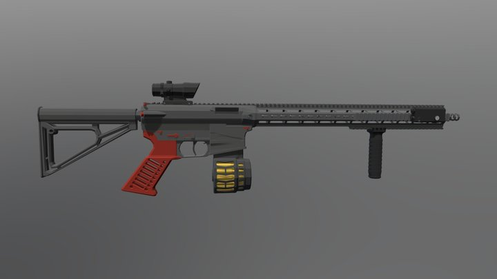 Low Poly AR-15 3D Model