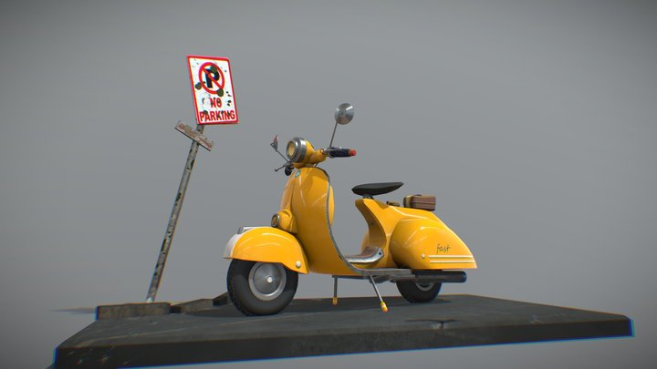 Yellow scooter 3D Model