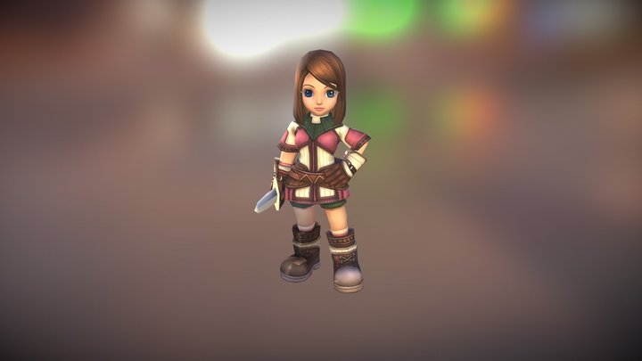 SD Novice Female Character 3D Model