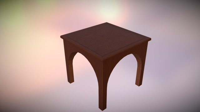Low Poly Rustic Table 3D Model