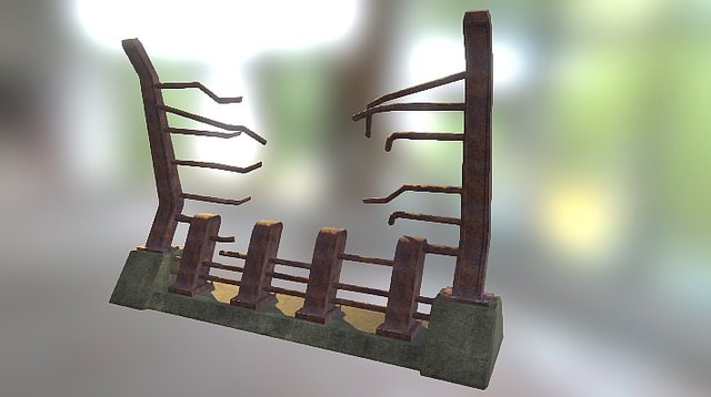 Dinosaur Island Fence 03 Ruined Texture 3D Model