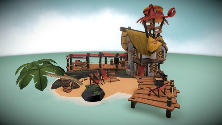 Captain burger beard island 3D Model