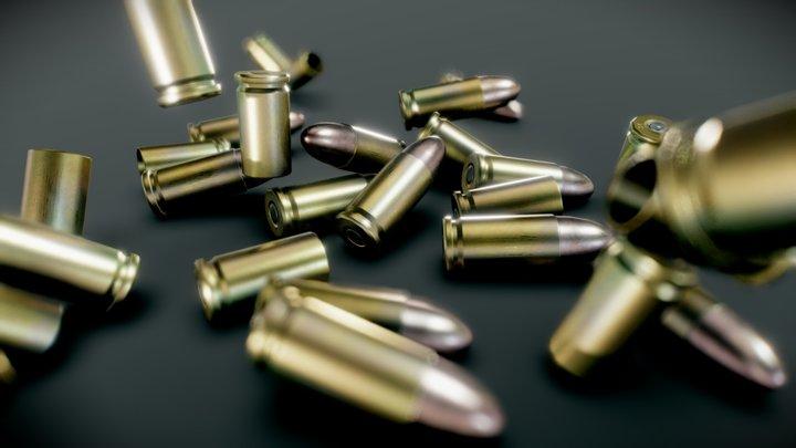 9mm Parabellum Rounds 3D Model