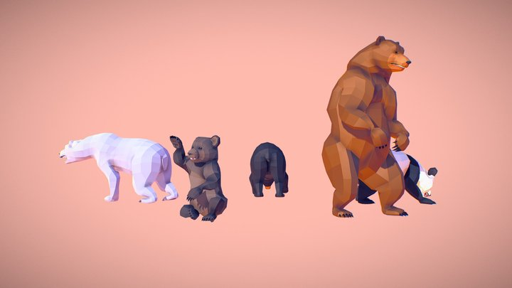 Poly Art Bear 3D Model