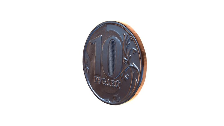 Coin 10 rub nominal, rus 3D Model