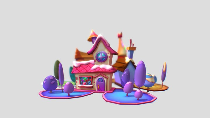 3 candy houses 3D Model